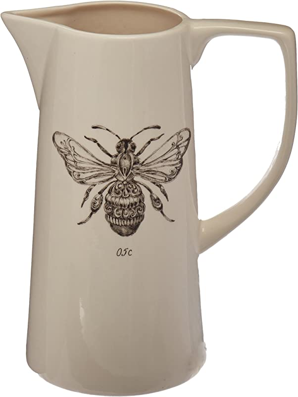 Creative Co Op White Ceramic Pitcher With Bee Image
