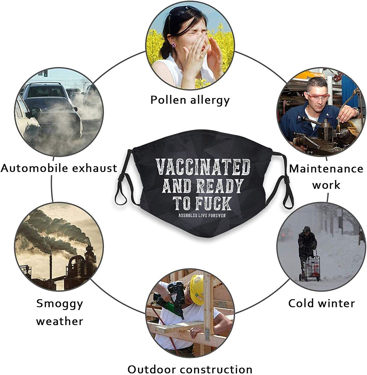 Vaccinated and Ready to Fu.Ck Face Ma-sk Washable Anti Dust Balaclava Bandanas Windproof Comfortable for Dust,Sports,Outdoors,Festivals Black