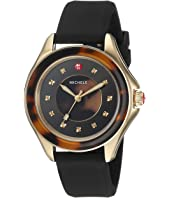 Michele - The Cape Gold-Plated Stainless Steel Black Silicone Strap