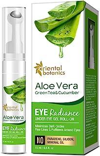 Oriental Botanics Aloe Vera, Green Tea & Cucumber Eye Radiance Under Eye Gel Roll on to Reduce Dark Circles, Puffiness and...