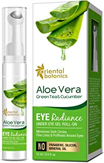 Oriental Botanics Aloe Vera, Green Tea & Cucumber Eye Radiance Under Eye Gel Roll on to Reduce Dark Circles, Puffiness and Fine Lines, 15ml (With Roller)