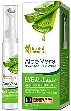 Oriental Botanics Aloe Vera, Green Tea & Cucumber Eye Radiance Under Eye Cream Massage Roller to Reduce Dark Circles, Puffiness and Fine Lines, 15ml - With Caffeine, Hyaluronic Acid, B3