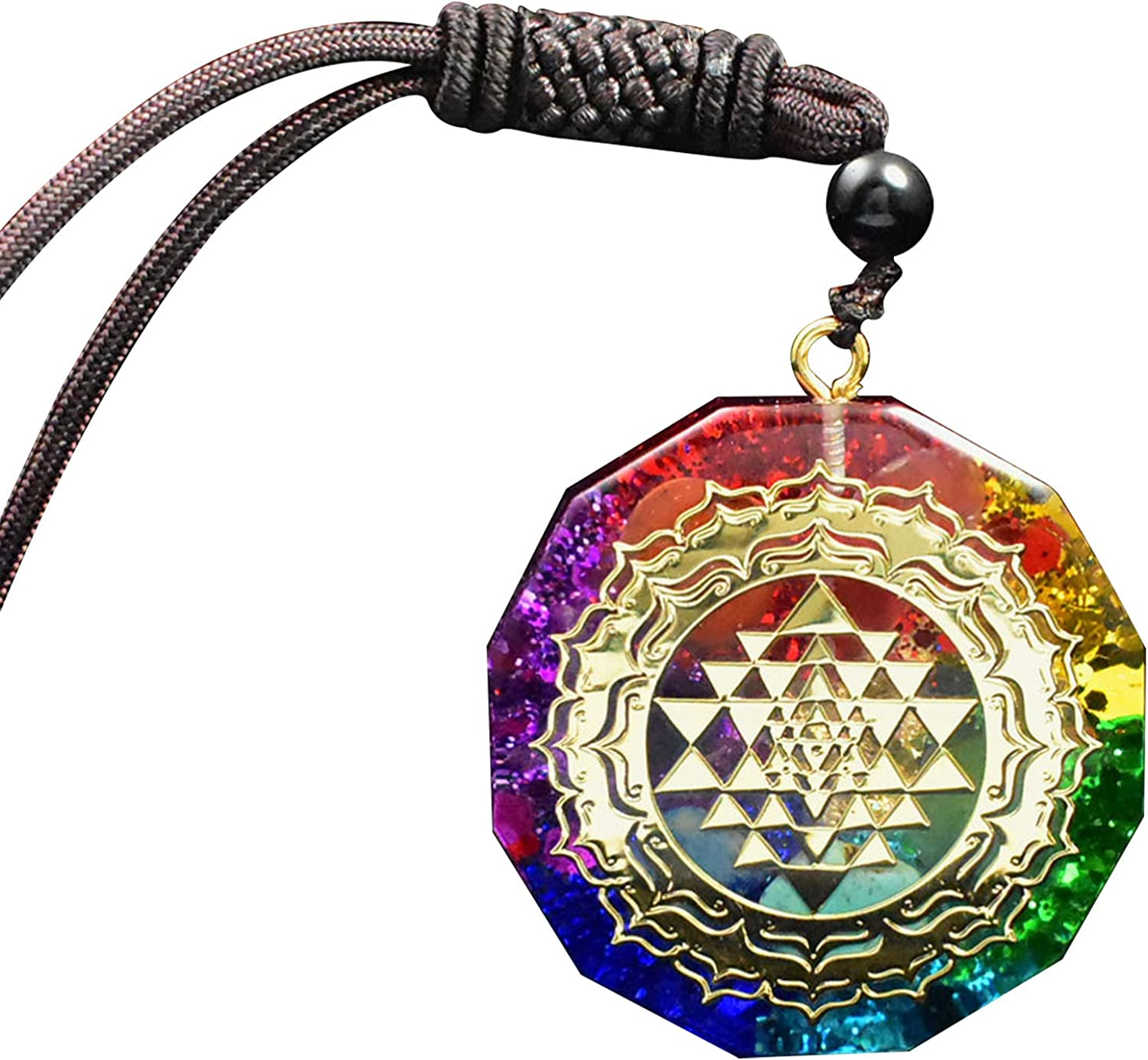 Seven Color Chakra Pendant-Rainbow Moonstone Orgone Pyramid for Growth Healing Crystal Gem Pendant Women's Necklace