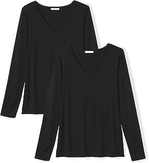 [Daily Ritual] ジャージー素材 Vネック 長袖 Tシャツ レディース ブラック/ブラック 3XL