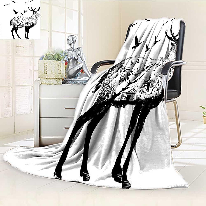 AmaPark Digital Printing Blanket Cottage Scenery in Wildlife Themed Black White Summer Quilt Comforter