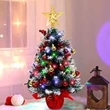 AerWo 60cm Mini Tabletop Christmas Tree with 70 LED String Lights, 28 Christmas Ornaments and Wooden Base for Home Holiday...