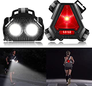 ALOVECO Night Running Lights, 90° Adjustable Beam Rechargeable LED Chest Light Back Warning Light for Camping, Hiking, Run...