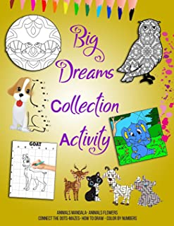 Big Dreams Collection Activity: Animals Mandala and Flowers Coloring Book - Connect The Dots-Mazes- How to Draw - Color by...