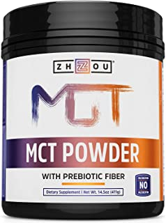 Zhou MCT Powder With Prebiotic Acacia Fiber | Zero Net Carbs | Keto Friendly Fat & Fiber Source | Easy To D...
