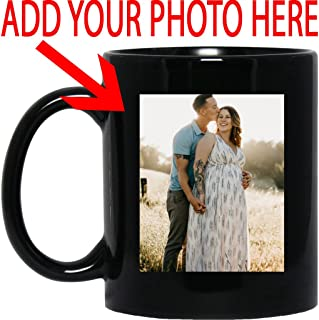 Personalized Coffee Mug for Father Day - Add Your Photo/Logo to Customized Travel, Beer Mug - Great Quality for Gift (Black, 11 oz)