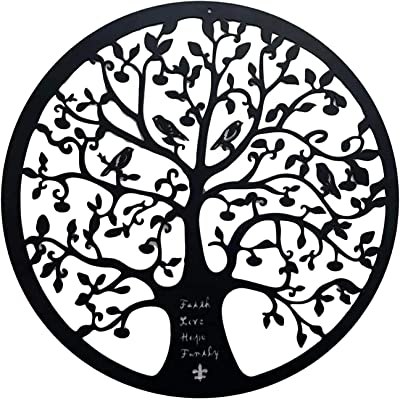 1pce 60cm Circle Shaped Gold With Brown Tree Of Life Wall Art Home Deco