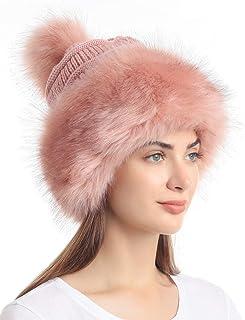 قبعة Soul Young للنساء من الفراء الصناعي قبعة سوداء روسية منسوجة قبعة الثلج للتزلج للشتاء بيضاء
