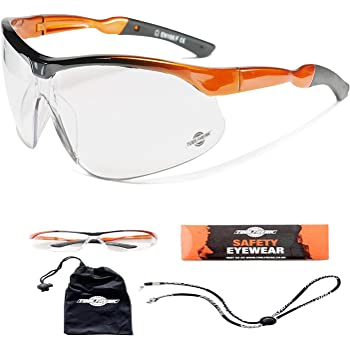 ToolFreak Agent Safety Glasses Clear Wraparound Lenses with UV and Impact Protection ,Fog and Scratch Reduction ,ANSI z87+ Rated