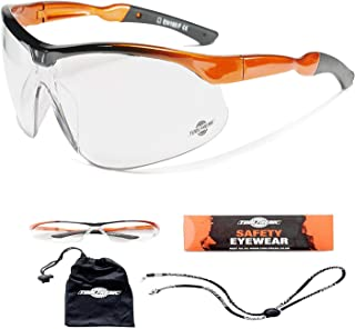ToolFreak Agent Safety Glasses Clear Wraparound Lenses with UV and Impact Protection,Fog and Scratch Reduction,ANSI z87+ Rated,Perfect in Work or Sport