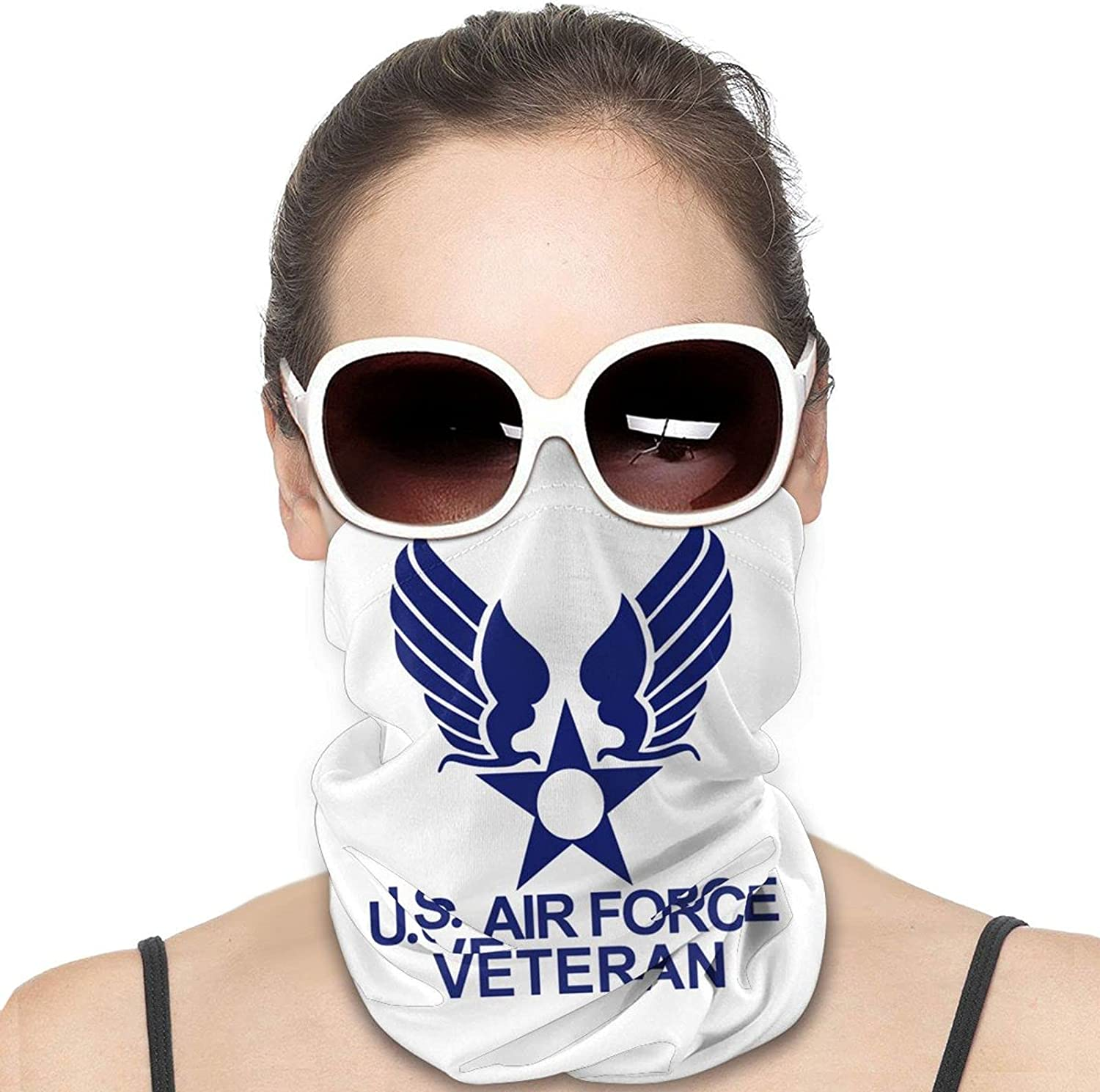 U.S. AIR FORCE VETERAN Round Neck Gaiter Bandnas Face Cover Uv Protection Prevent bask in Ice Scarf Headbands Perfect for Motorcycle Cycling Running Festival Raves Outdoors