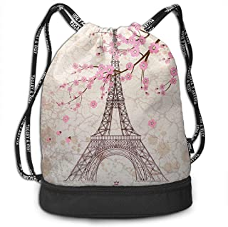 Girls & Boys Drawstring Sack Theft Proof Lightweight Beam Backpack, Swim String Bag - Paris Eiffel Tower With Pink Cherry Blossom Waterproof Backpack Soccer Basketball Bag