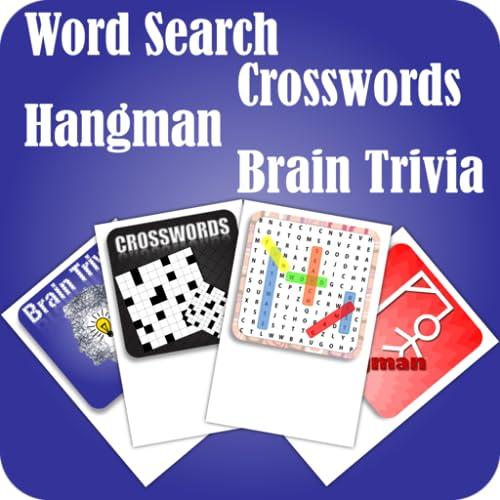 Word Search Crosswords Hangman Brain Trivia Word Games 4 In 1 Pack