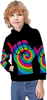 Kid's Novelty Sweater Shaka Sign Hooded Hoodies Unisex Boys Girls Pullover Sweatshirt-