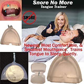 """Snore No More- Revolutionary Design- Most Comfortable & Smallest Mouthpiece or Tongue Trainer. 96% Clinical Effectiveness. """"Trains Tongue"""" for only ~1 Night/Week use."""