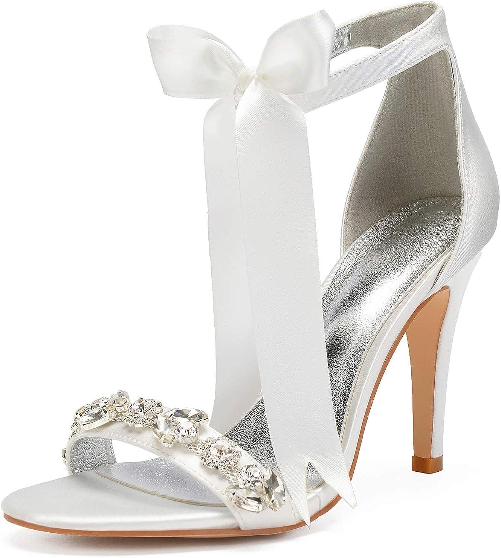 Elobaby Frauen Hochzeit Schuhe Toe Ktzchen Satin Plattform Braut DC-48 Elfenbein Peep weit passend passende Gre   10,5 cm Ferse