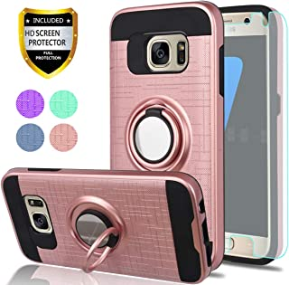 S7 Case,Galaxy S7 Phone Case with HD Screen Protector, YmhxcY 360 Degree Rotating Ring & Bracket Dual Layer Shock Bumper Cover for Galaxy S7 (2016)-ZH Rose Gold