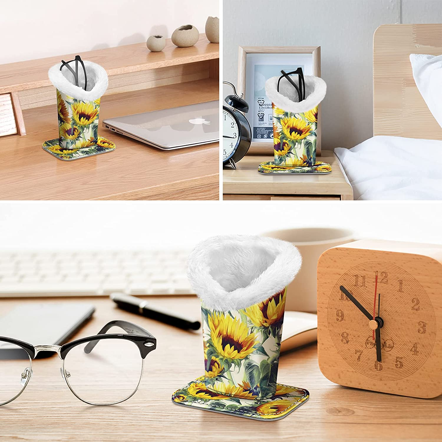 Fintie Plush Lined Eyeglasses Holder with Magnetic Base- PU Leather Glasses Stand Case (Official Micklyn Le Feuvre Product)