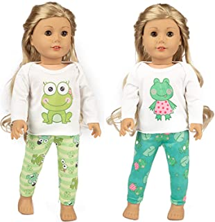 Ecore Fun 2 Sets 16-18 Inch Doll Clothes Pajamas Outfits for American 18 Inch Girl Doll, Generation Doll - 2 Pcs Tops + 2 Pcs Pants
