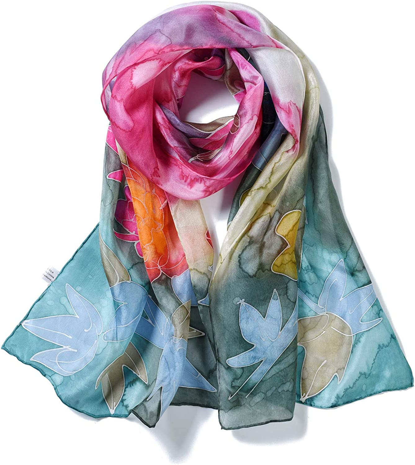 Invisible World Women's 100% Mulberry Silk Scarf Long Hand Painted Spring Floral