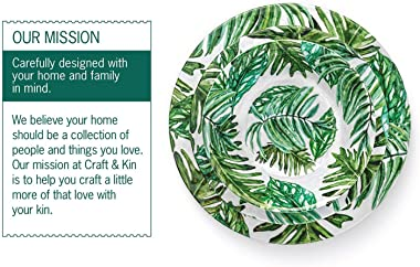 Melamine Dinnerware Set Melamine Plates | 12 Pcs Outdoor Plates Summer Plates and Bowls Sets Dinnerware Melamine Plates Ideal