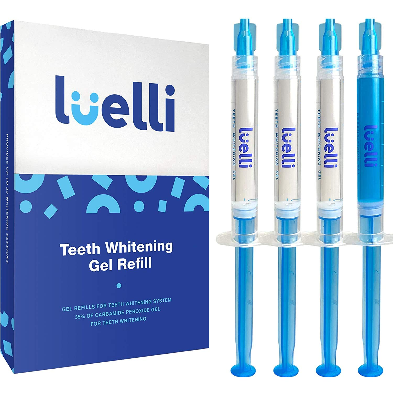 LUELLI Teeth Whitening Gel Syringe Refill Pack - (3) 3ml Whitening Gel Syringes, (1) Remineralization Gel Syringe