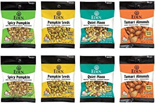 Eden Foods Pocket Snacks 4 Flavor 8 Bag Variety Bundle, 2 each: Spicy Pumpkin, Pumpkin Seeds, Quiet Moon, Tamari Almonds (...