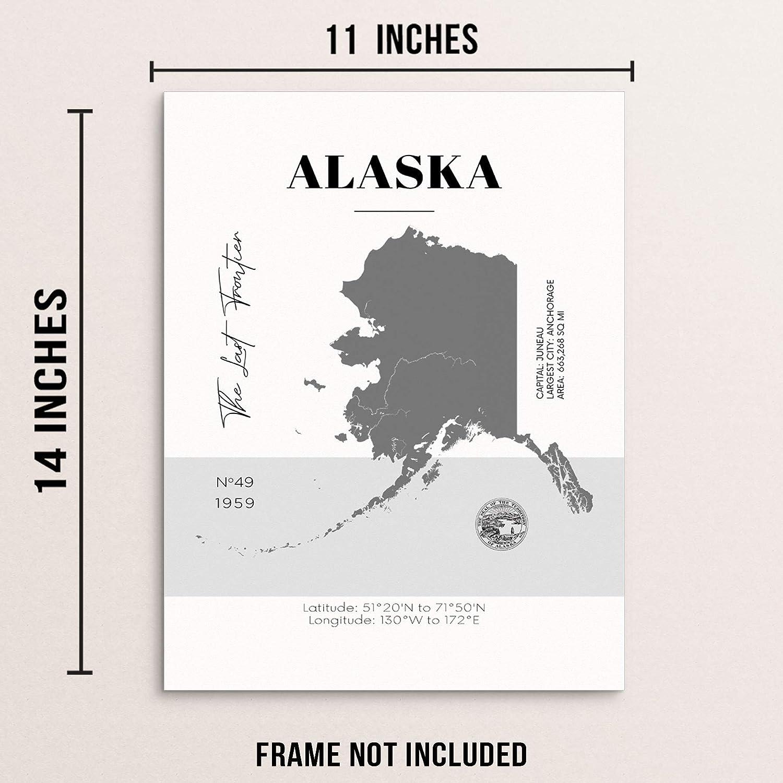 Amazon.com Alaska State Map Poster With Demographics Minimalist ...