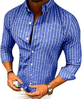 Manica Lunga Camicia a Righe per Uomo Autunno Primavera Camicie Casual con Turn-Down Colletto Moda Slim Fit Camicia Shirts...