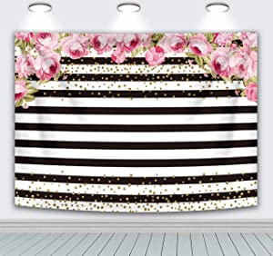 RUINI Polyester Pink Rose Floral Black and White Stripe Backdrop for Birthday Party Bridal Baby Shower Wedding Decor (7x5FT)