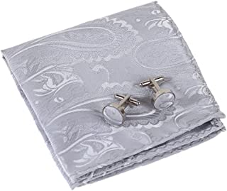 Epoint Men's Fashion Accessories Microfiber Pocket Square Pattern Cufflinks Set