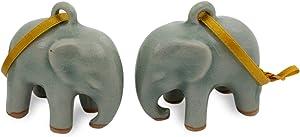 NOVICA Celadon Ceramic Handing Holiday Ornaments, Light Blue Elephant' (Pair)