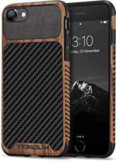TENDLIN Compatible with iPhone SE 2020 Case/iPhone 8 Case/iPhone 7 Case Wood Grain with Carbon Fiber Texture Design Leathe...