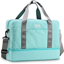Foldable Duffle Bag for Travel Gym Sports Lightweight Luggage Duffle (Tiffany blue)
