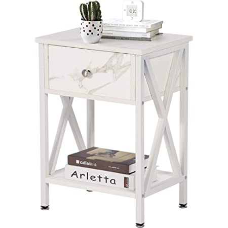 VECELO Versatile Nightstands X-Design Side End Table Night Stand Storage Shelf with Bin Drawer for Living Room Bedroom, White