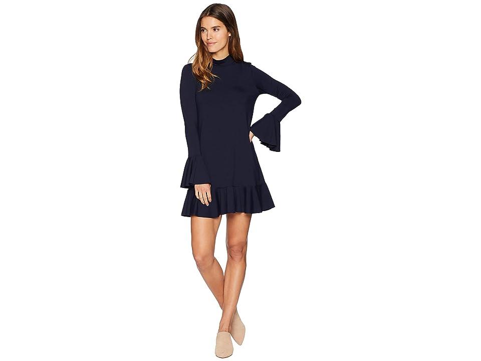 Susana Monaco Long Sleeve Ruffle Hem Dress (Midnight) Women