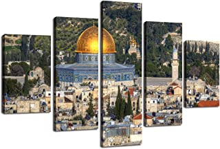 Jerusalem Modern Painting on Canvas 5 Panel Large Mosque Printed Wall Art Haram Makkah Haaba Artwork Prints Picture for Living Room Giclee Home Decoration Wooden Framed Ready to Hang(60''Wx40''H)
