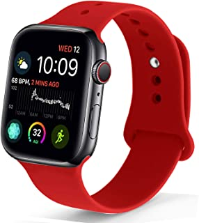Sport Band Compatible with Apple Watch 38MM 40MM 42MM 44MM,Soft Silicone Replacement..
