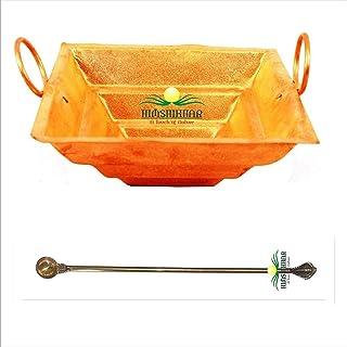 Copper Yagya Hawan/Havan/Yagna Kund /,hawan Spoon, Poojan Purpose, Indian Cultural Religious Item Best for Home, Office, G...