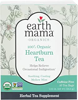 Earth Mama Organic Heartburn Tea Bags for Occasional Pregnancy Heartburn, 16-Count