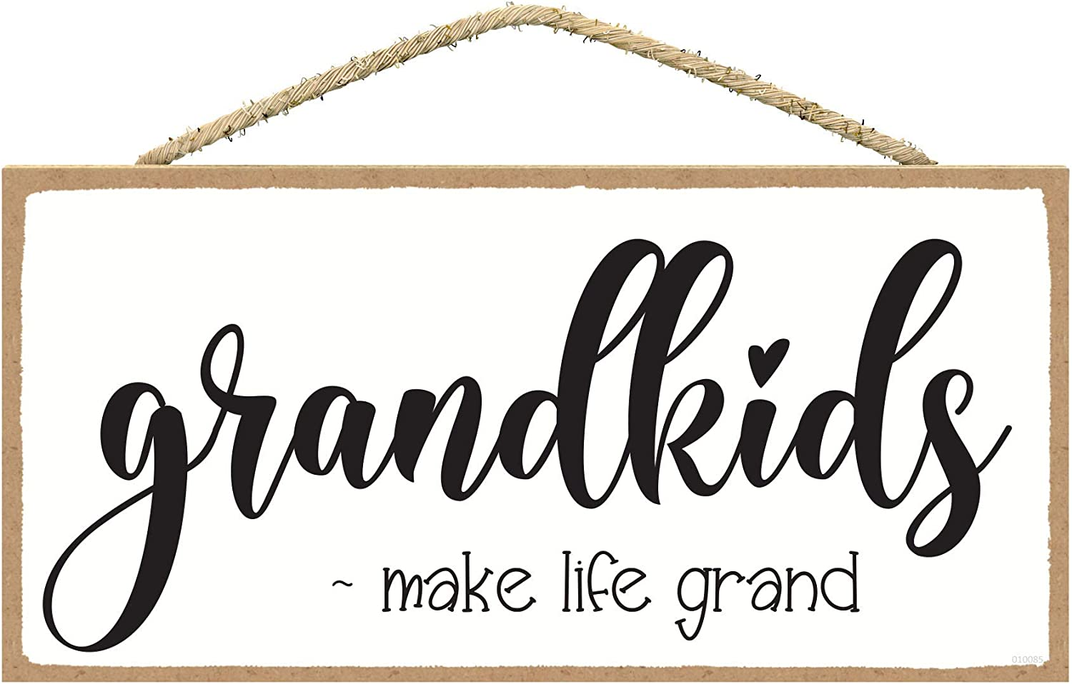SARAH JOY'S Grandkids Make Life Grand Sign - Grandkids Signs for Home Decor - Grandparents Gift - Gifts for Home Decor - Rustic Wall Decor 5 x 10 Inches