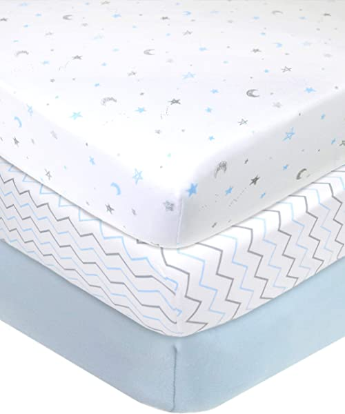 American Baby Company 3 Piece 100 Cotton Jersey Knit Fitted Crib Sheet For Standard Crib And Toddler Mattresses Blue Star Zigzag For Boys And Girls