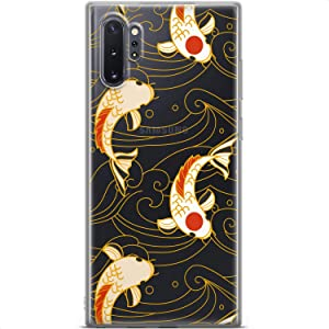 Mertak Clear Phone Case Compatible with Samsung Galaxy Note 20 Ultra S21 5G S20 S10+ Girls Silicone Protective Design Koi Fish Flexible Slim Japanese Lightweight Waves TPU Cover Women Art Abstract