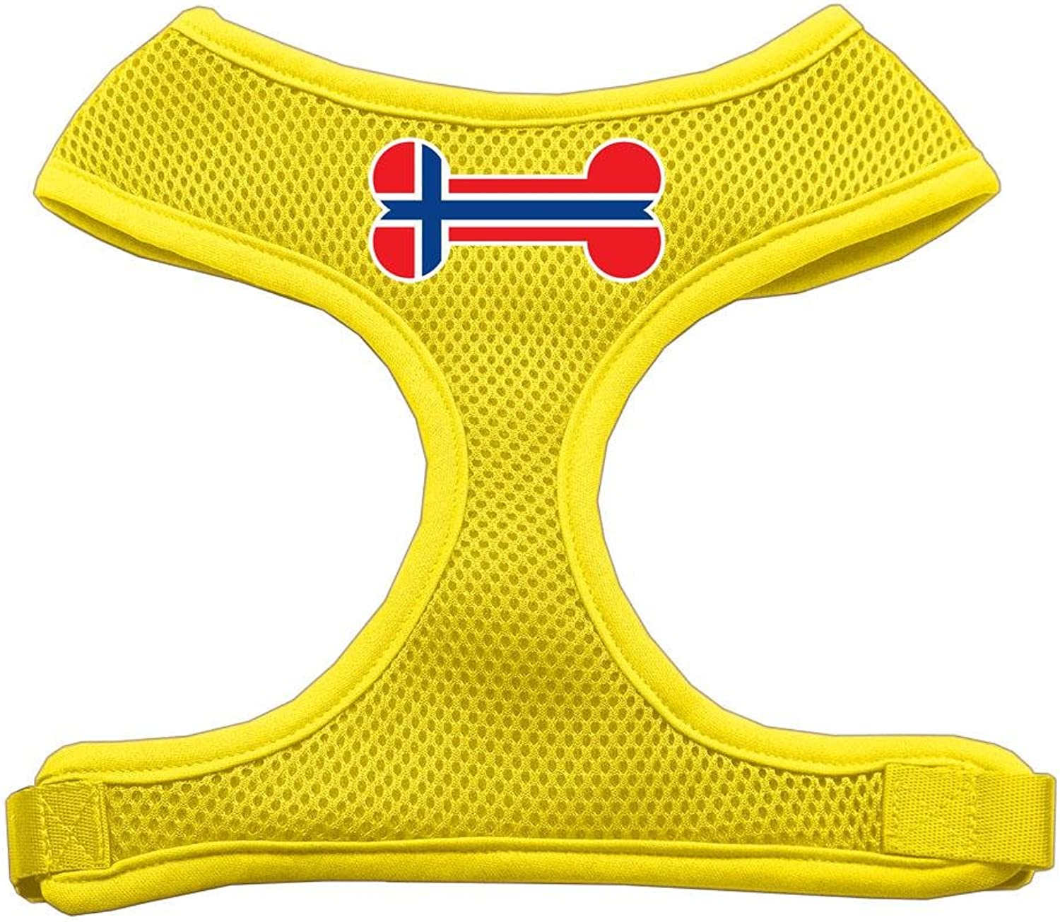 Mirage Pet Products Bone Flag Norway Screen Print Soft Mesh Dog Harnesses, Large, Yellow