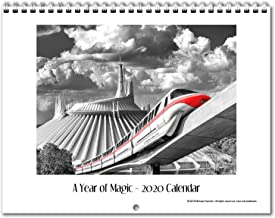 Disney 2020 wall calendar, 12-month spiral bound wall calendar featuring original photographs of the Walt Disney World parks and resorts