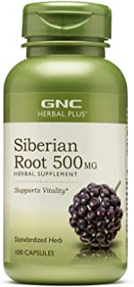GNC Herbal Plus Siberian Root 500mg, 100 Capsules, Supports Vitality